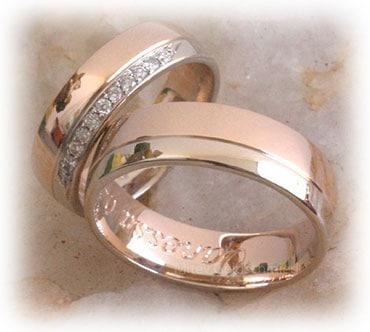IM341 two tone wedding rings set polished