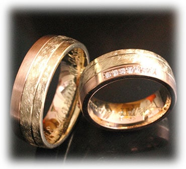 IM352 unusual wedding rings rose gold ice matted