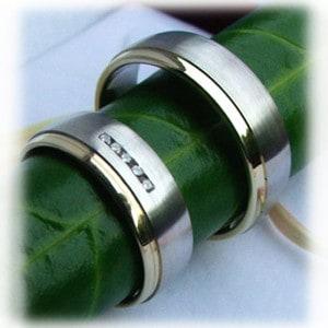 IM219 Diamond Wedding Rings WhiteYellow Gold 14ct., Bi metal
