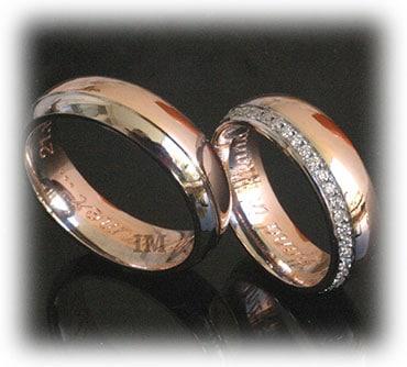 IM350 two tone wedding rings rose gold polished