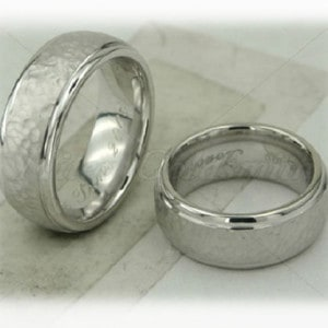 Classic Wedding Rings FT271 White Gold or Platinum, hammered