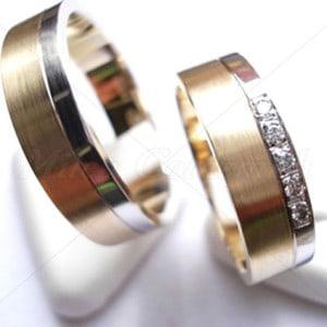 Diamond Wedding Rings FT214 White and Yellow Gold, two tone
