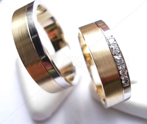 wedding rings ft214 white and yellow gold two