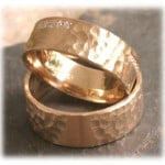 Diamond Wedding Rings FT259 Hammered, Yellow Gold 14ct 18ct 1