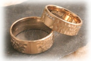 Diamond Wedding Rings FT259 Hammered, Yellow Gold 14ct 18ct 2