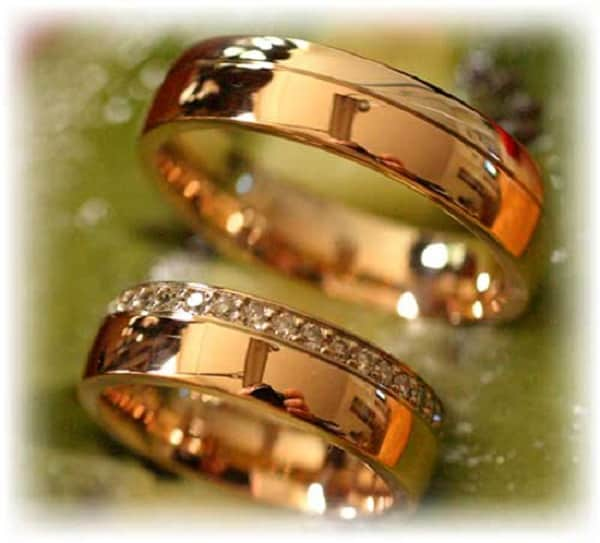 Diamond Wedding Rings FT262 White and Rose Gold two tone polished