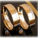 Diamond Wedding Rings FT266 White and Yellow Gold 14ct, two tone