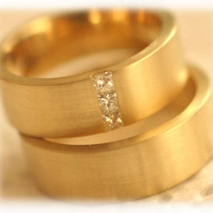 Diamond Wedding Rings FT268 Matted, Yellow Gold, princess cut