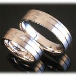 Diamond Wedding Rings FT284 White Gold or Platinum 950, matted 1