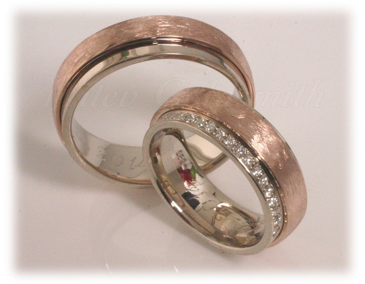 Diamond Wedding Rings FT304 White and Rose Gold two tone eternity line