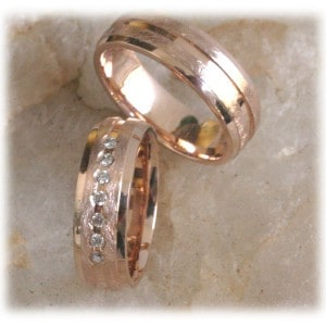 Diamond Wedding Rings FT307 Ice Matted and Polished, Rose Gold 14ct 18ct