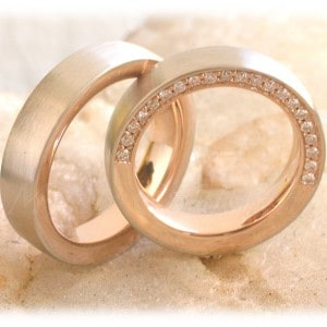 Diamond Wedding Rings FT317 White and Rose Gold, two tone, eternity