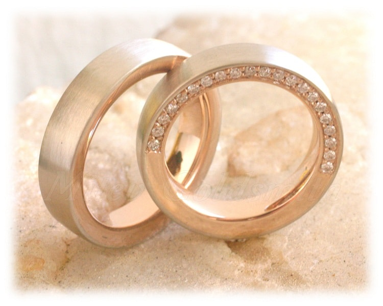 Diamond Wedding Rings FT317 White and Rose Gold two tone eternity line