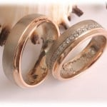 Diamond Wedding Rings FT318 White and Rose Gold, two tone, matted