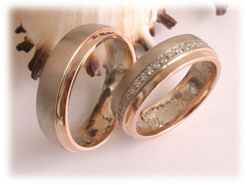 Diamond Wedding Rings FT318 White and Rose Gold two tone eternity line