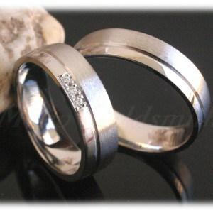 Diamond Wedding Rings FT320 White Gold or Platinum 950, polished