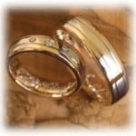 Diamond Wedding Rings FT332 White and Yellow Gold, two tone, polished