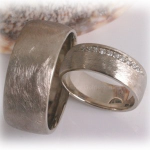 Diamond Wedding Rings FT338 White Gold or Platinum, ice matted