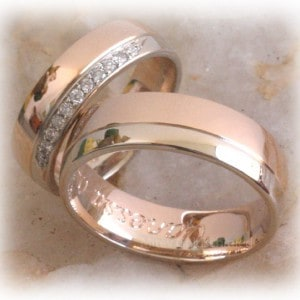 Diamond Wedding Rings FT341 Two Tone, Eternity, White and Rose Gold