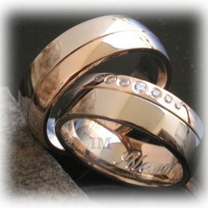 Diamond Wedding Rings FT343 White and Yellow Gold, two tone, polished