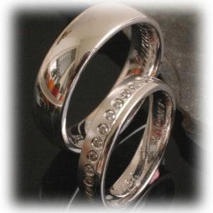 Diamond Wedding Rings FT345 White Gold or Platinum 950, polished