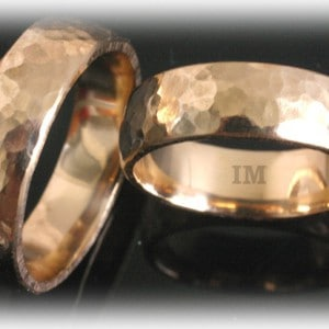 Diamond Wedding Rings FT346 Hammered, Yellow Gold 14ct18ct