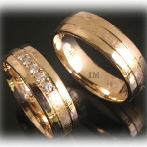Diamond Wedding Rings FT348 Ice Matted, Yellow Gold 14ct 18ct