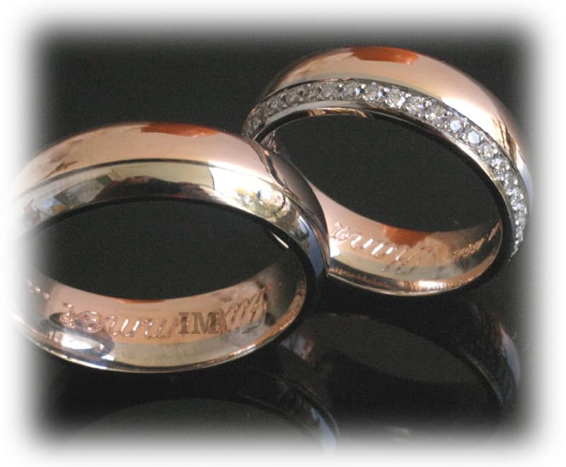 Diamond Wedding Rings Ft350 Eternity White And Rose Gold Two Tone 2