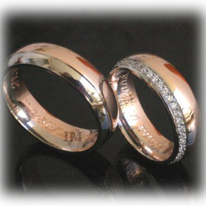 Diamond Wedding Rings FT350 Eternity, White and Rose Gold, two tone