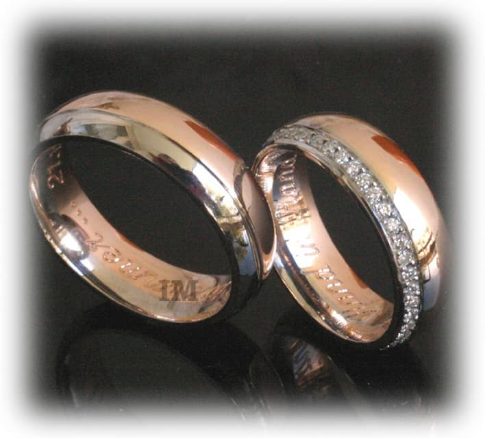 Diamond Wedding Rings FT350 Eternity White and Rose Gold two tone line