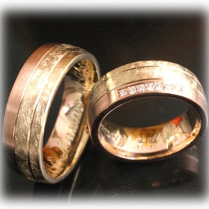 Diamond Wedding Rings FT352 RoseYellow Gold 14ct or 18ct, two tone