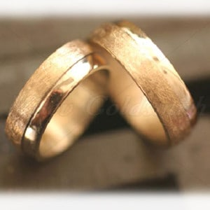 Diamond Wedding Rings FT535 Ice Matted, Yellow Gold 14ct 18ct