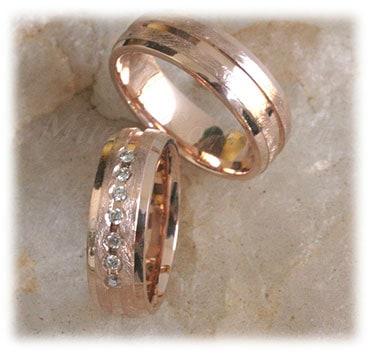 IM307 vintage wedding rings rose gold ice matted