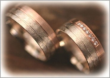 IM282 two tone wedding bands rose gold ice matted