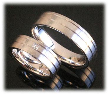 IM284 princess cut platinum wedding rings set matted polished