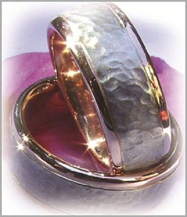 IM228 two tone wedding bands yellow gold