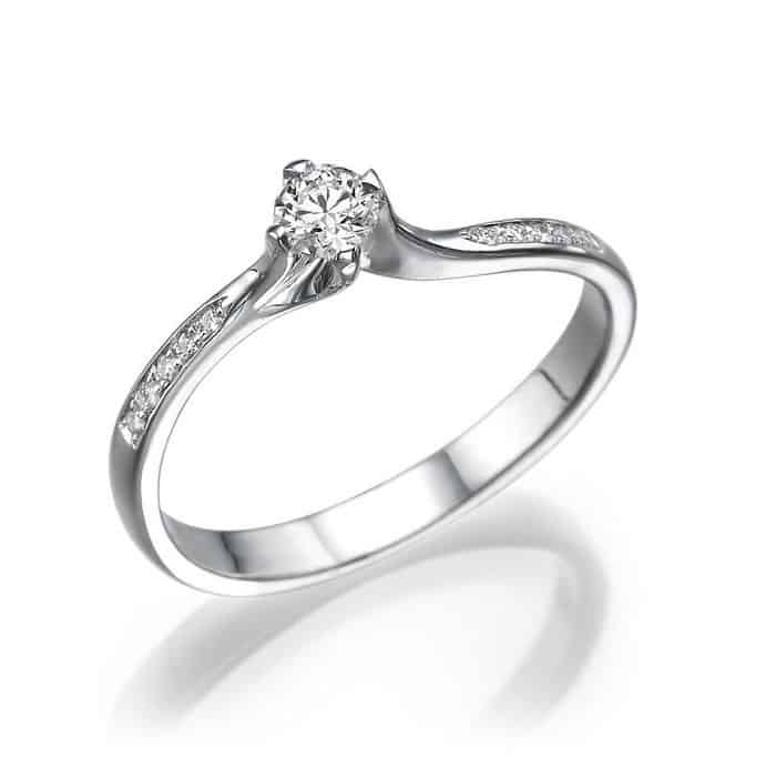 IM676 Promise Rings For Women, Platinum Band - 0,30ct ...