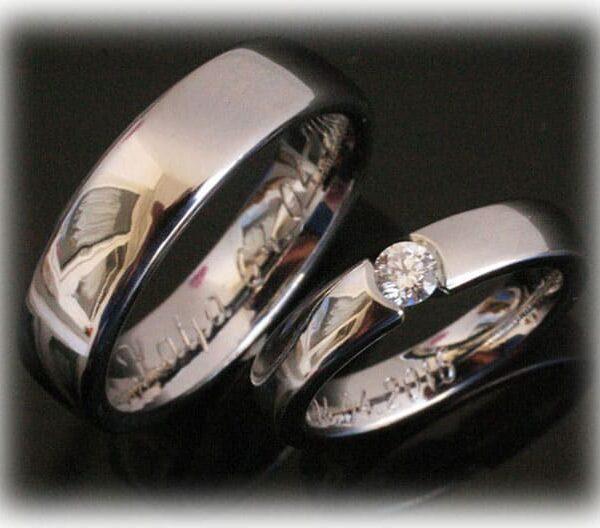Platinum Wedding Rings FT110 Polished with 10,210ct Diamond