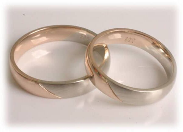 Two Tone Wedding Rings Ft372 Of White And Rose Gold