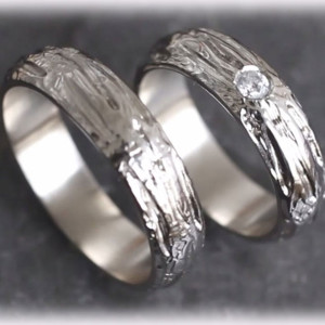 White-Gold-Wedding-Rings-FT120-Hammered