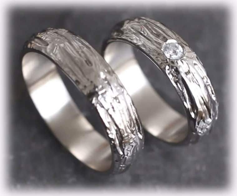 Unusual Wedding Rings Ft120 Hammered With Gemstone