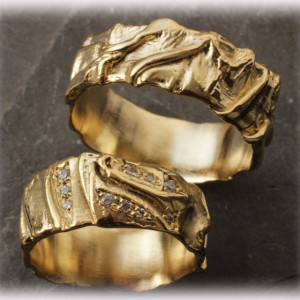 Yellow-Gold-Weddinag-Bands-FT106-Hammered-2