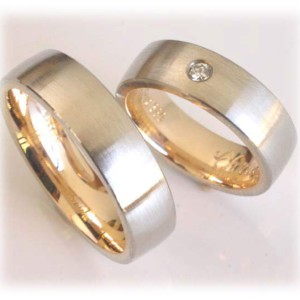 Two Tone Wedding Rings FT362 White and Yellow Gold Set